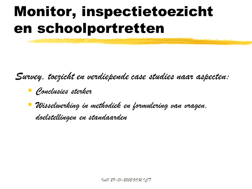 Monitor, inspectietoezicht en schoolportretten