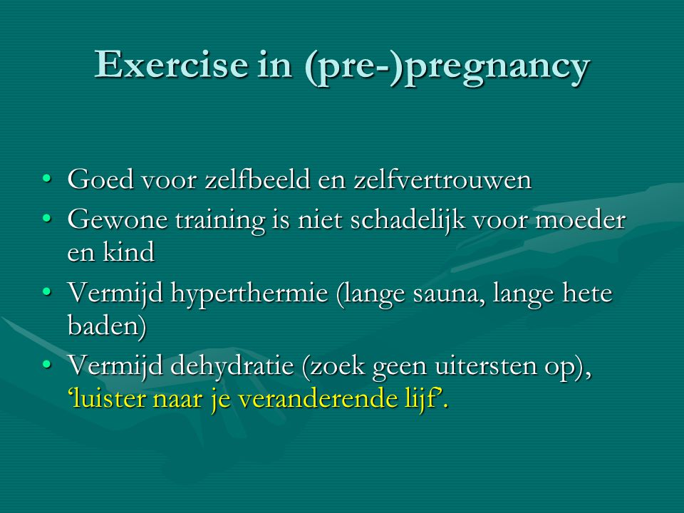 Exercise in (pre-)pregnancy