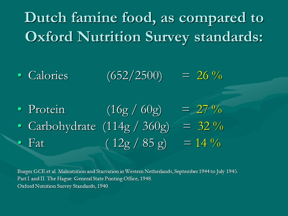 Dutch famine food, as compared to Oxford Nutrition Survey standards: