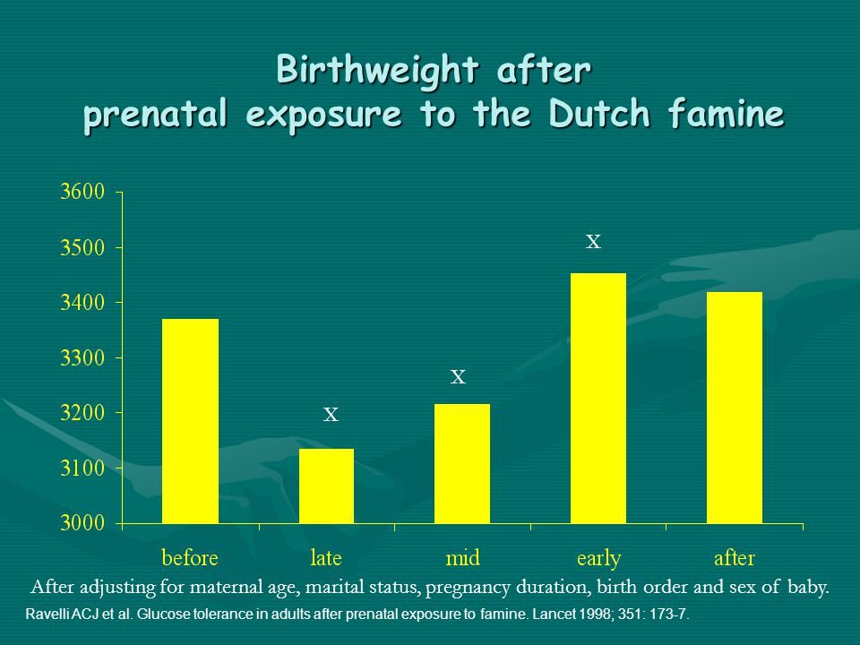 Birthweight after prenatal exposure to the Dutch famine