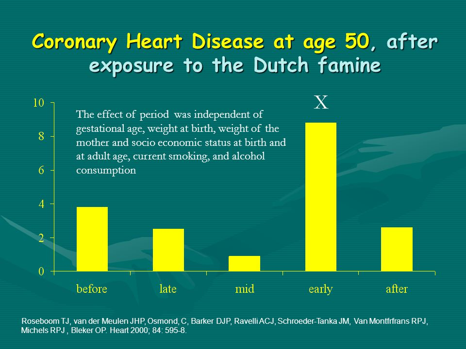Coronary Heart Disease at age 50, after exposure to the Dutch famine