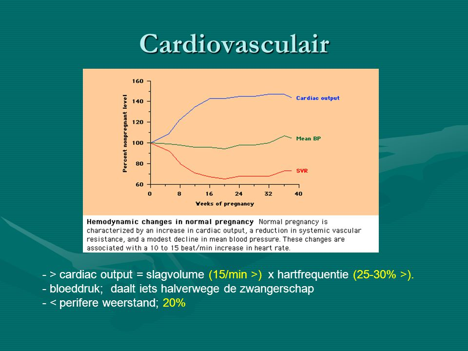 Cardiovasculair - > cardiac output = slagvolume (15/min >) x hartfrequentie (25-30% >). bloeddruk; daalt iets halverwege de zwangerschap.