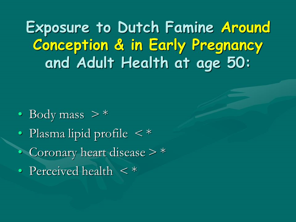 Exposure to Dutch Famine Around Conception & in Early Pregnancy and Adult Health at age 50: