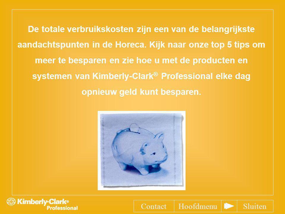 De totale verbruikskosten zijn een van de belangrijkste aandachtspunten in de Horeca. Kijk naar onze top 5 tips om meer te besparen en zie hoe u met de producten en systemen van Kimberly-Clark® Professional elke dag opnieuw geld kunt besparen.