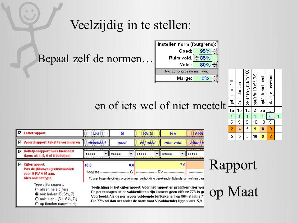 Rapport op Maat Veelzijdig in te stellen: Bepaal zelf de normen…