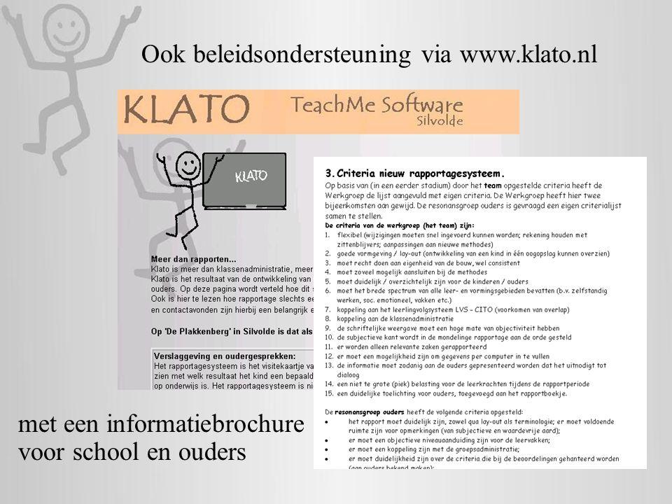Ook beleidsondersteuning via www.klato.nl