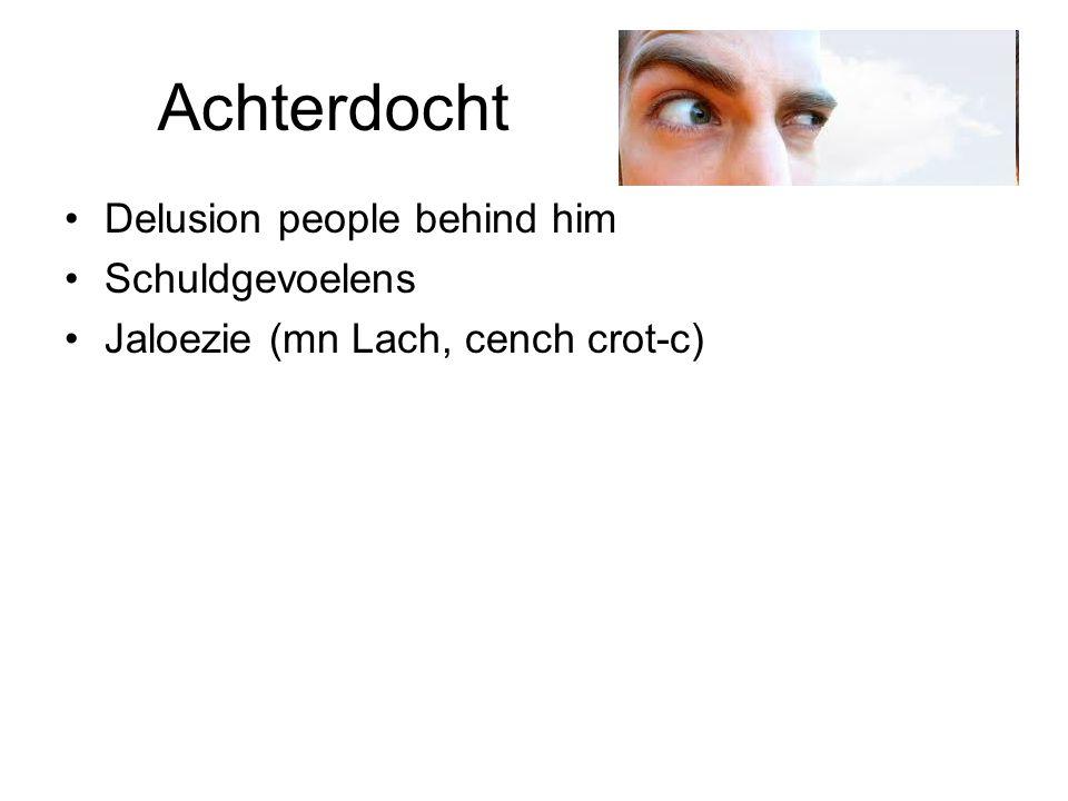 Achterdocht Delusion people behind him Schuldgevoelens