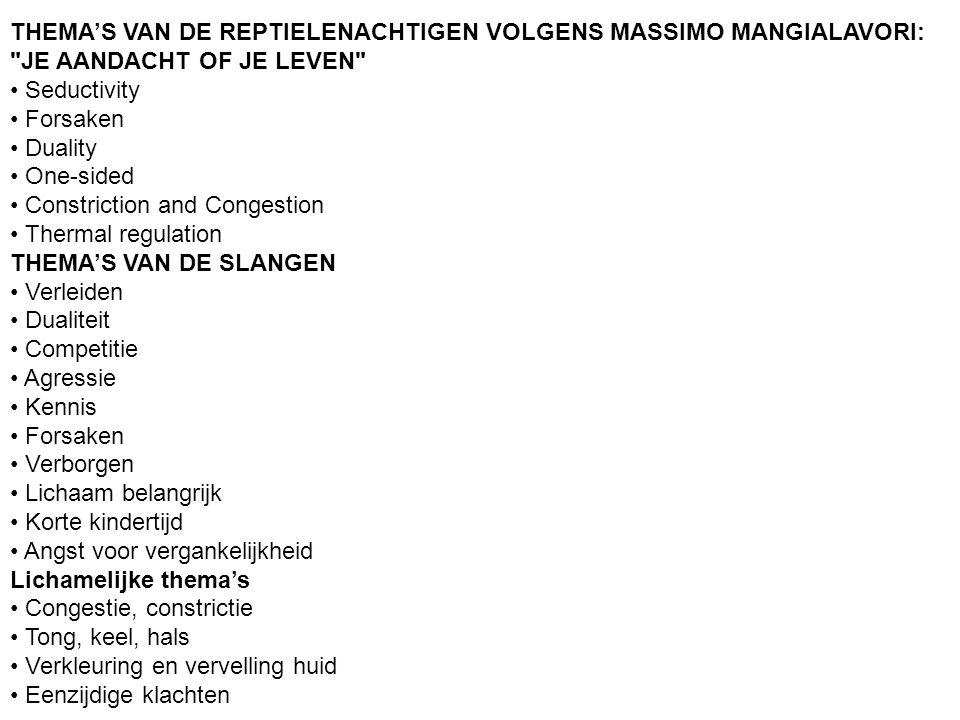 THEMA'S VAN DE REPTIELENACHTIGEN VOLGENS MASSIMO MANGIALAVORI:
