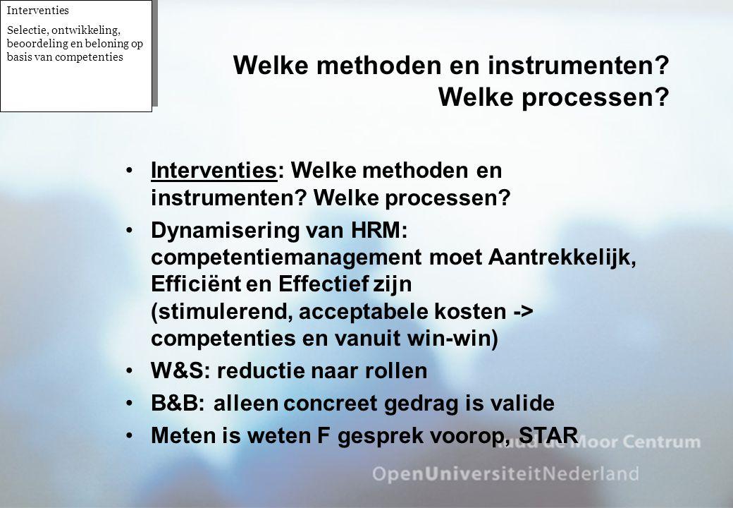 Welke methoden en instrumenten Welke processen