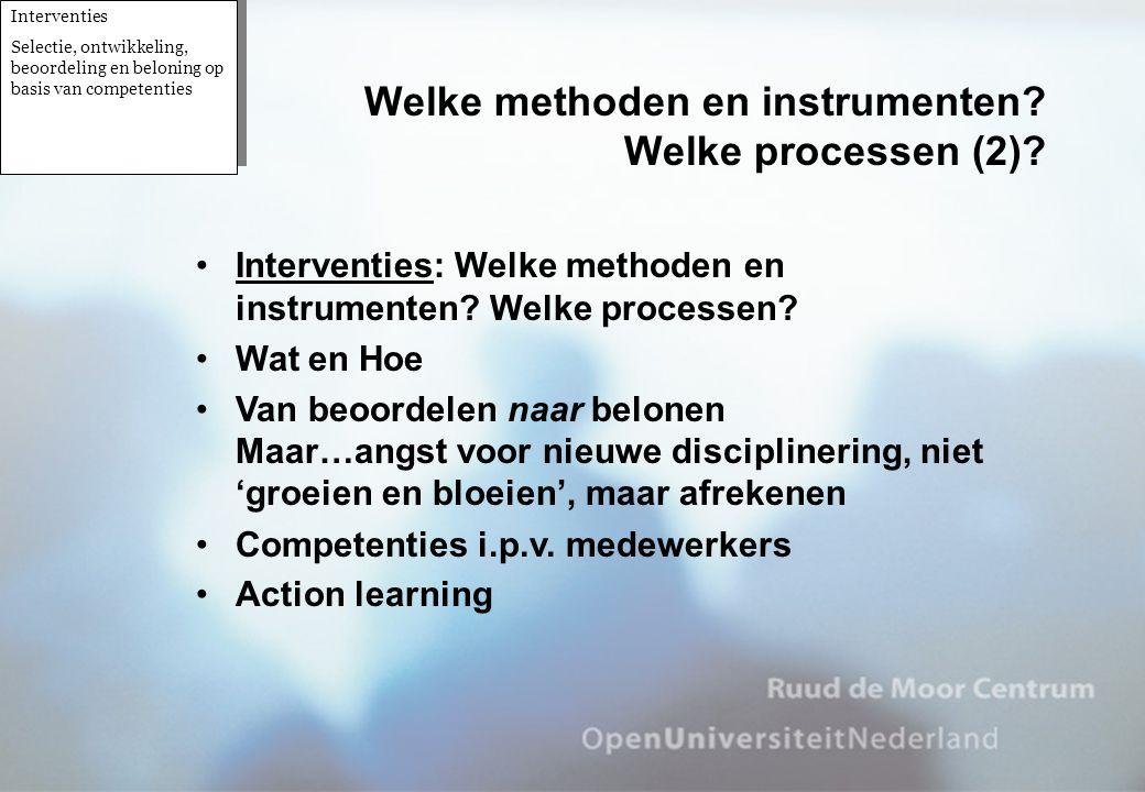 Welke methoden en instrumenten Welke processen (2)