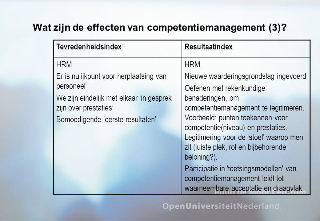 Wat zijn de effecten van competentiemanagement (3)