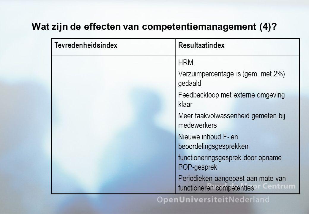 Wat zijn de effecten van competentiemanagement (4)