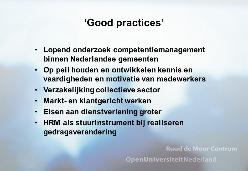 'Good practices' Lopend onderzoek competentiemanagement binnen Nederlandse gemeenten.