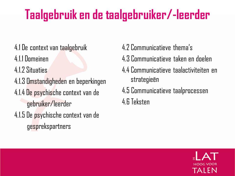 Taalgebruik en de taalgebruiker/-leerder
