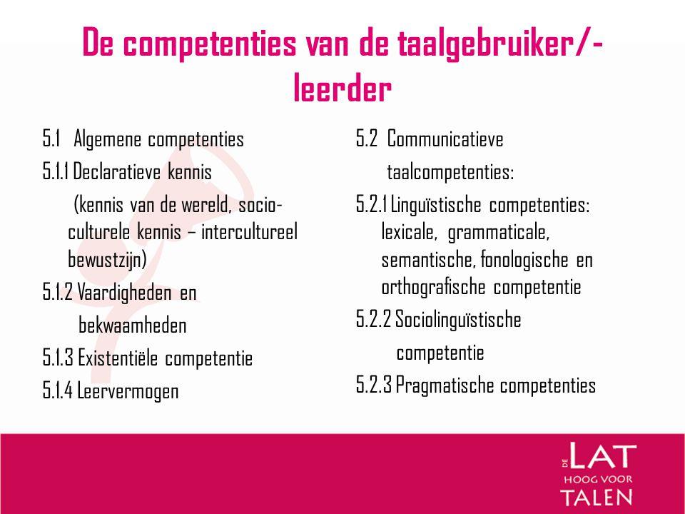 De competenties van de taalgebruiker/- leerder