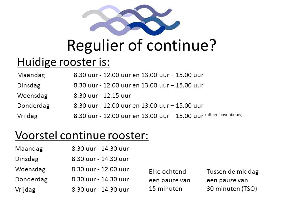 Regulier of continue Huidige rooster is: Voorstel continue rooster: