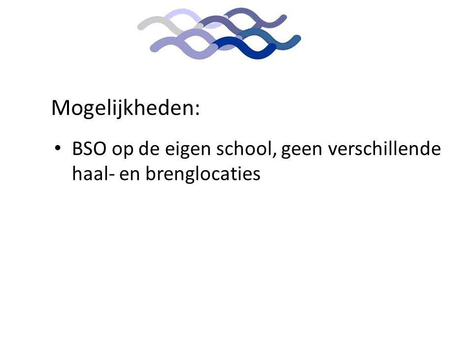 Mogelijkheden: BSO op de eigen school, geen verschillende haal- en brenglocaties