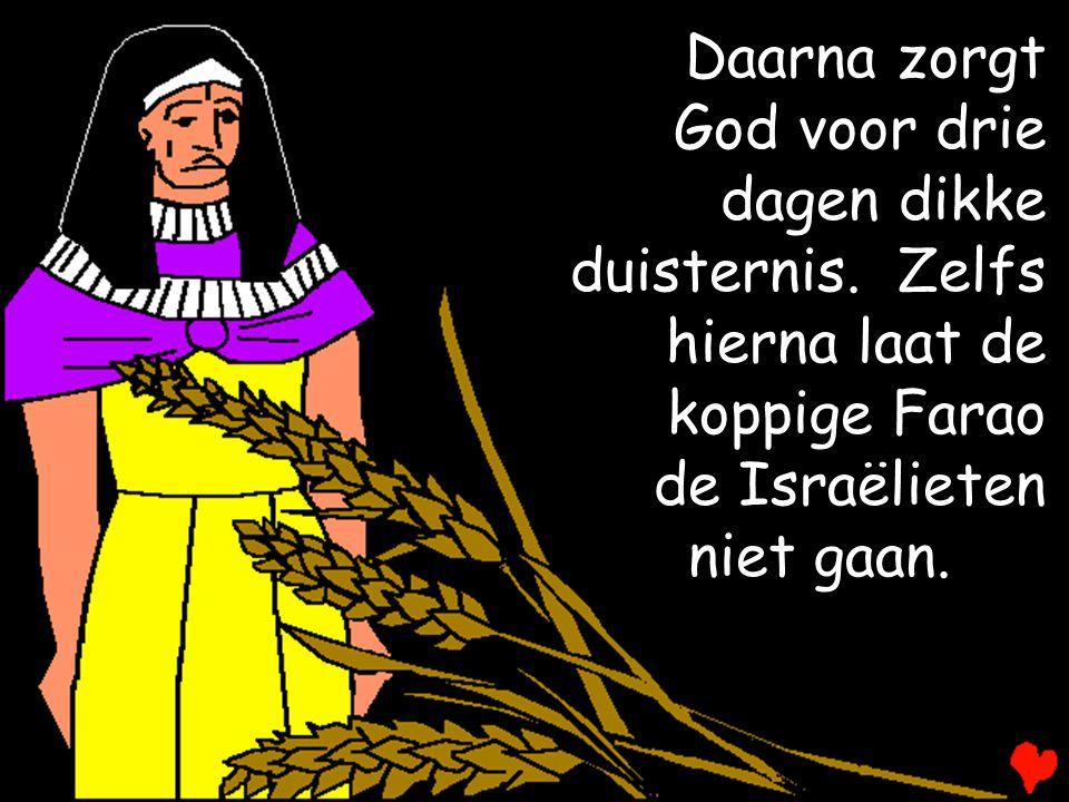Daarna zorgt God voor drie. dagen dikke. duisternis. Zelfs. hierna laat de. koppige Farao. de Israëlieten.