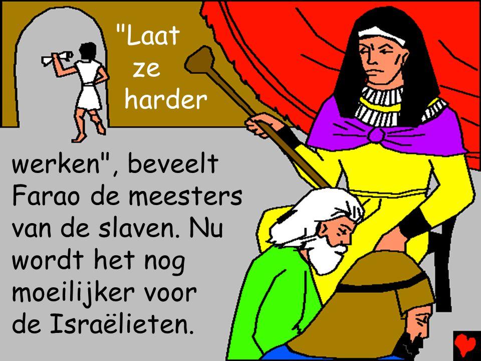 Laat ze. harder. werken , beveelt. Farao de meesters. van de slaven. Nu. wordt het nog moeilijker voor.
