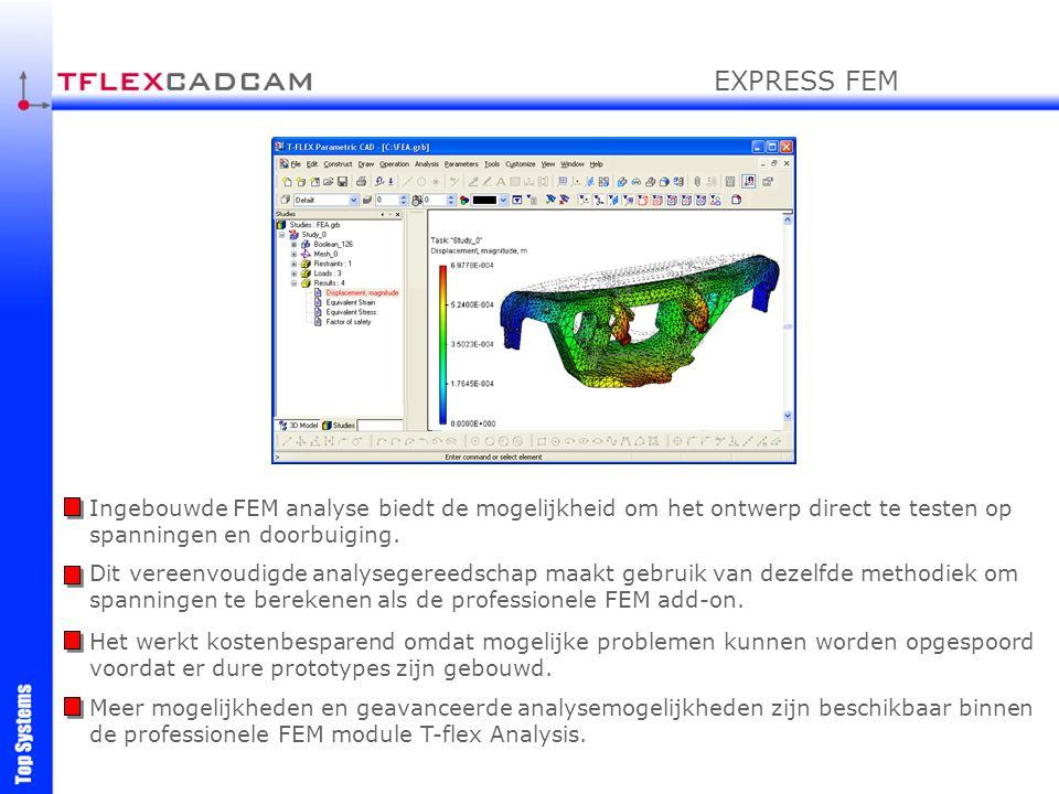 EXPRESS FEM Ingebouwde FEM analyse biedt de mogelijkheid om het ontwerp direct te testen op spanningen en doorbuiging.