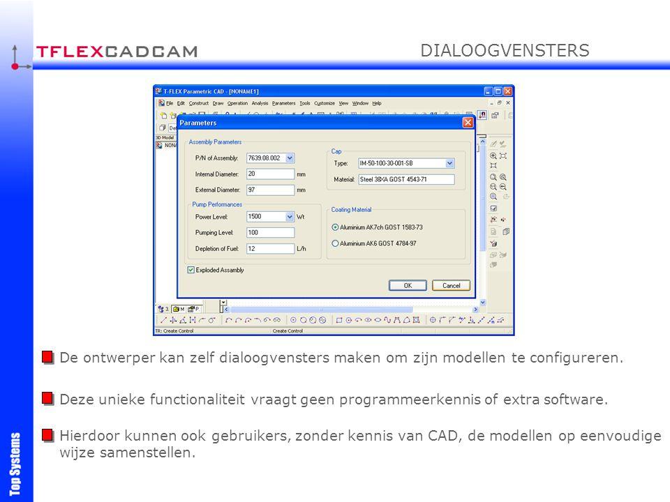 DIALOOGVENSTERS De ontwerper kan zelf dialoogvensters maken om zijn modellen te configureren.