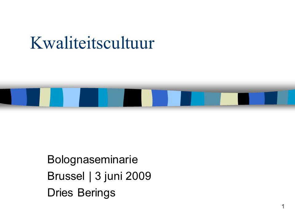 Kwaliteitscultuur Bolognaseminarie Brussel | 3 juni 2009 Dries Berings