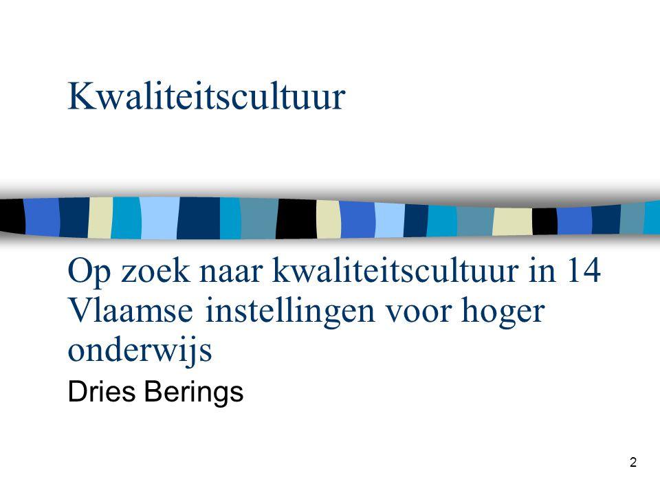 Kwaliteitscultuur Op zoek naar kwaliteitscultuur in 14 Vlaamse instellingen voor hoger onderwijs.