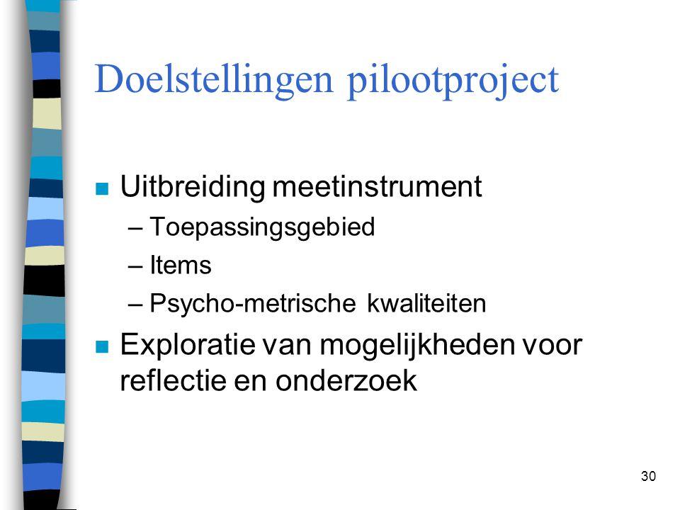 Doelstellingen pilootproject