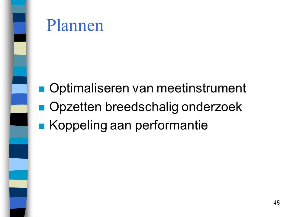 Plannen Optimaliseren van meetinstrument