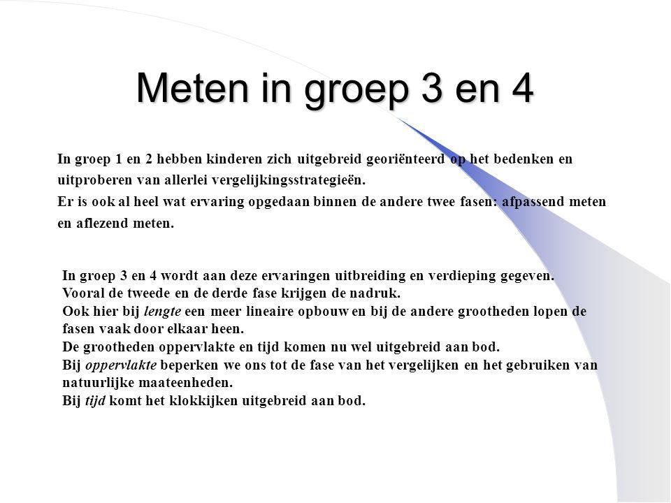 Meten in groep 3 en 4 In groep 1 en 2 hebben kinderen zich uitgebreid georiënteerd op het bedenken en.