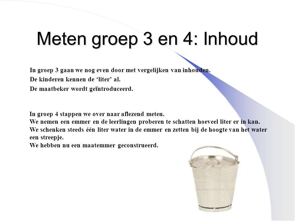 Meten groep 3 en 4: Inhoud In groep 3 gaan we nog even door met vergelijken van inhouden. De kinderen kennen de 'liter' al.
