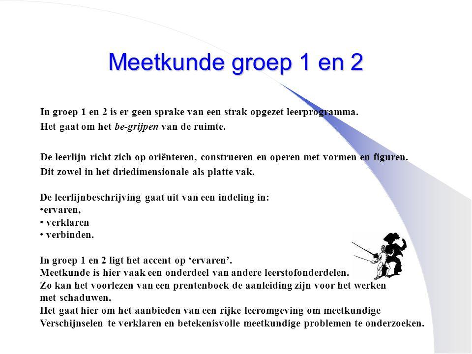 Meetkunde groep 1 en 2 In groep 1 en 2 is er geen sprake van een strak opgezet leerprogramma. Het gaat om het be-grijpen van de ruimte.