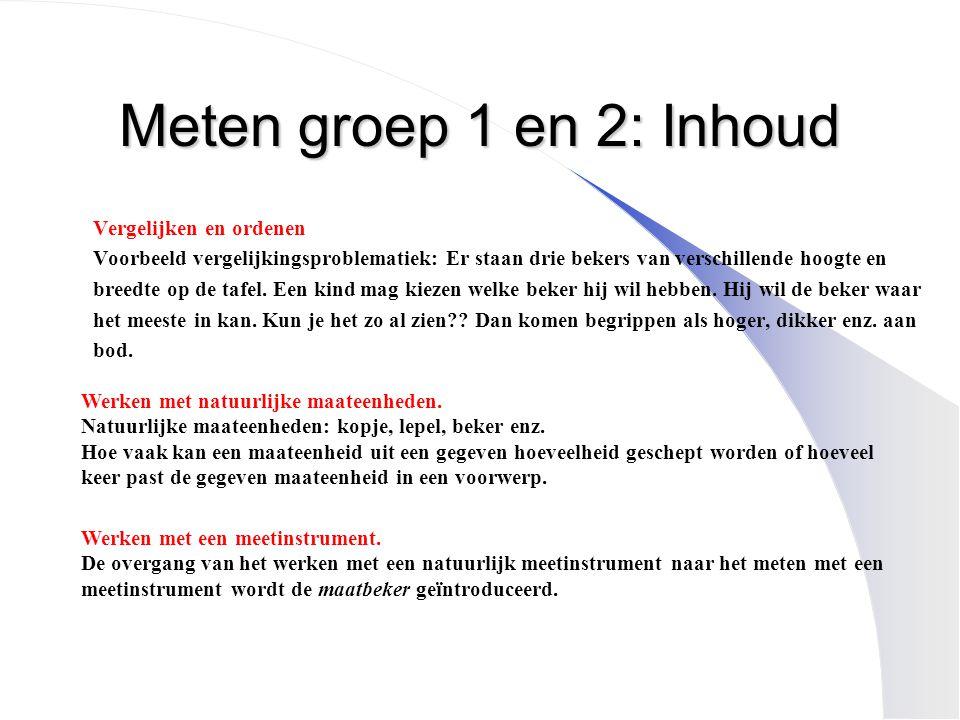 Meten groep 1 en 2: Inhoud Vergelijken en ordenen