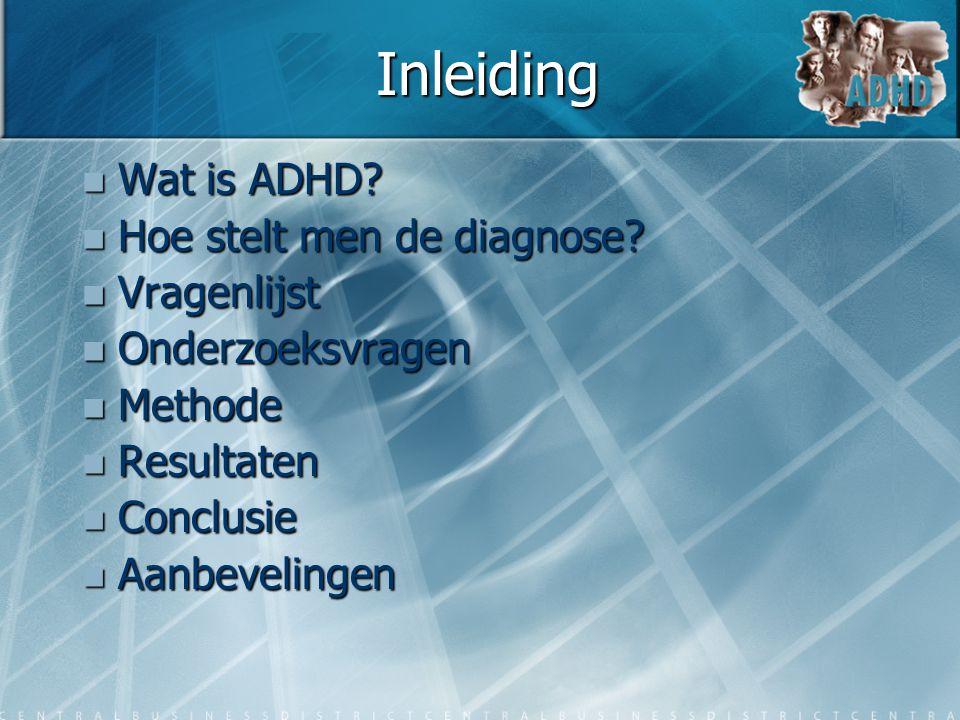 Inleiding Wat is ADHD Hoe stelt men de diagnose Vragenlijst