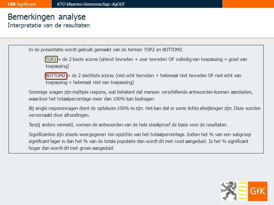 Bemerkingen analyse Interpretatie van de resultaten