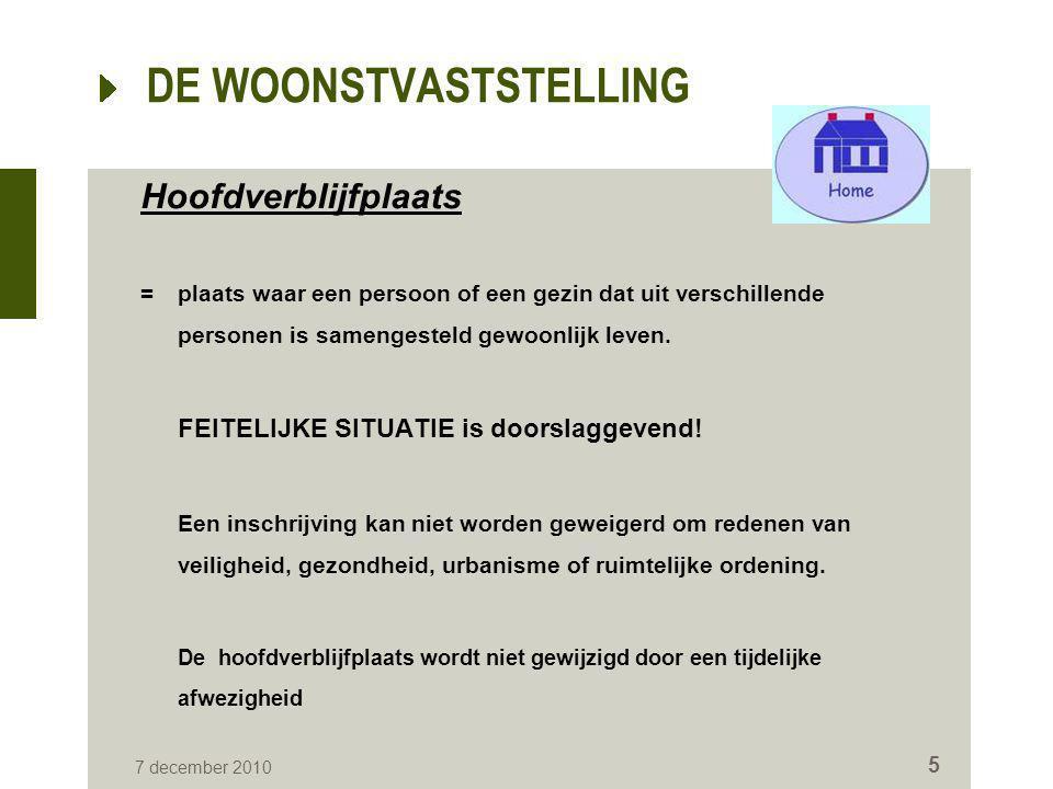 DE WOONSTVASTSTELLING