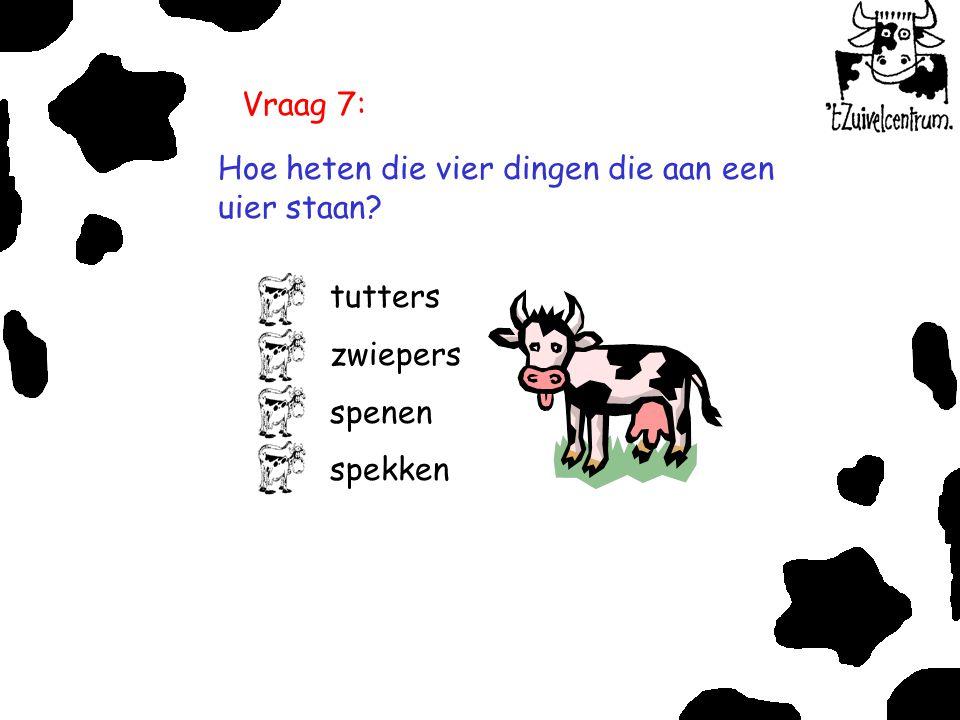 Vraag 7: Hoe heten die vier dingen die aan een uier staan tutters zwiepers spenen spekken