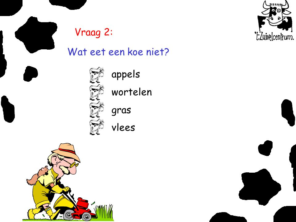 Vraag 2: Wat eet een koe niet appels wortelen gras vlees