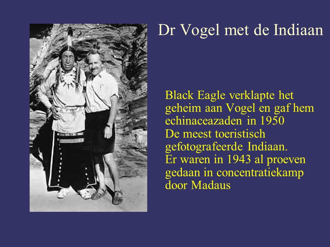 Dr Vogel met de Indiaan Black Eagle verklapte het geheim aan Vogel en gaf hem echinaceazaden in 1950.
