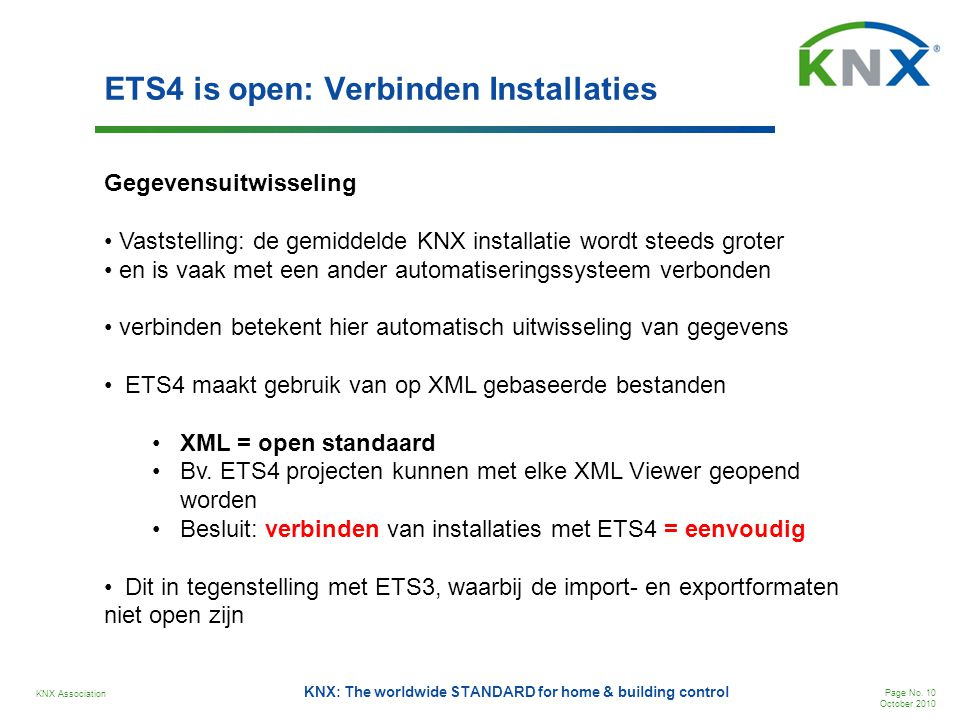 ETS4 is open: Verbinden Installaties