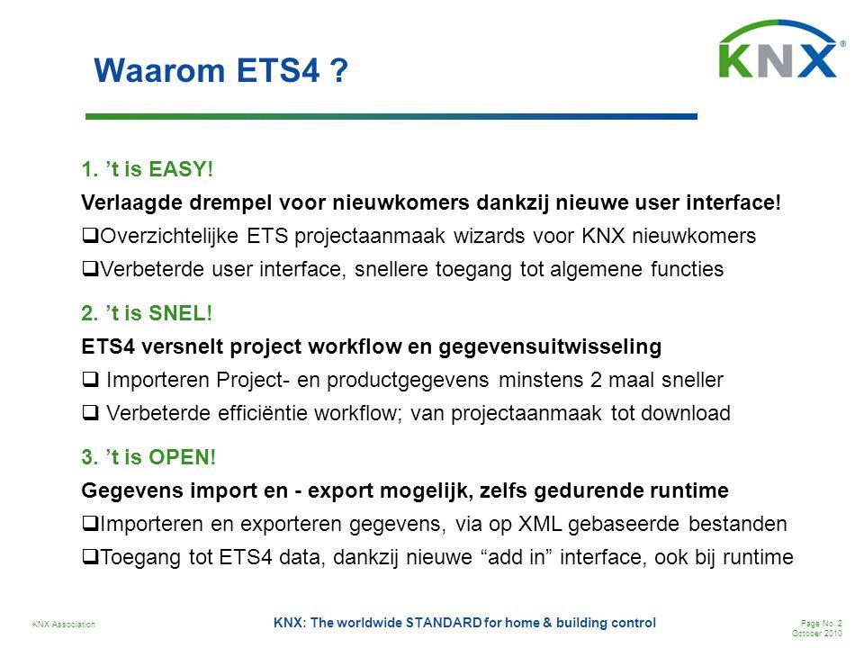 Waarom ETS4 1. 't is EASY! Verlaagde drempel voor nieuwkomers dankzij nieuwe user interface!