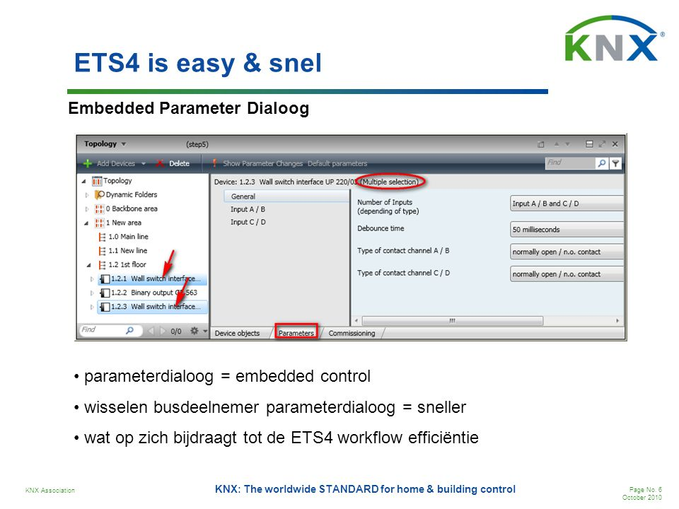 ETS4 is easy & snel Embedded Parameter Dialoog