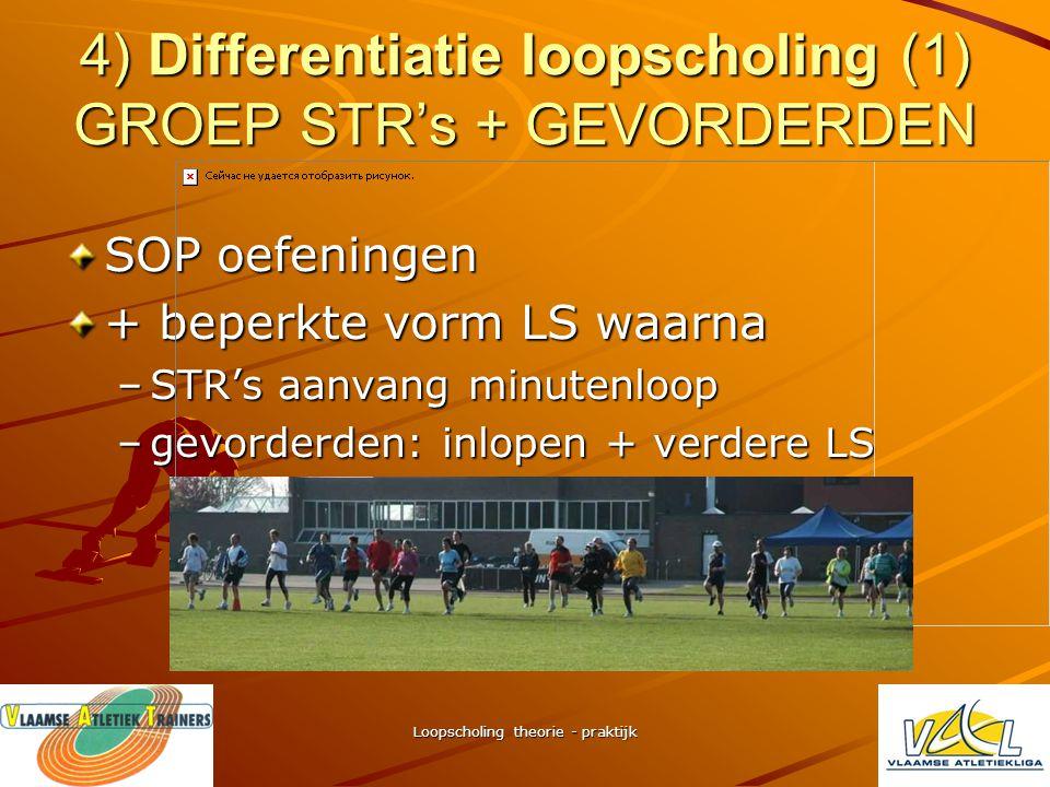 4) Differentiatie loopscholing (1) GROEP STR's + GEVORDERDEN