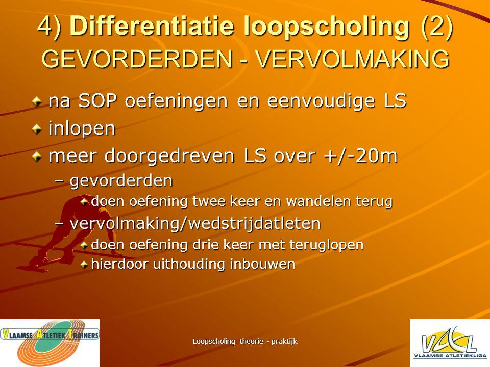 4) Differentiatie loopscholing (2) GEVORDERDEN - VERVOLMAKING