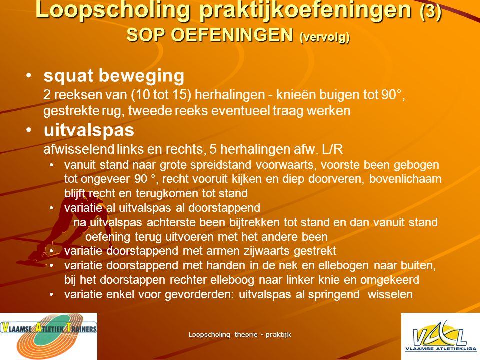 Loopscholing praktijkoefeningen (3) SOP OEFENINGEN (vervolg)