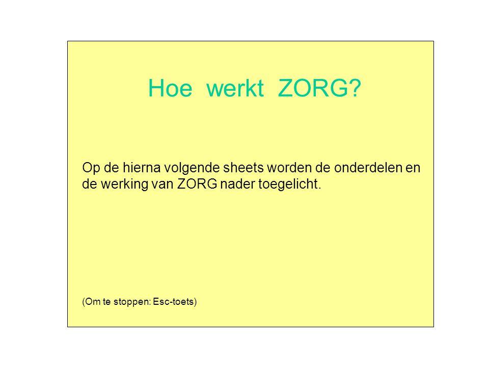 Hoe werkt ZORG Op de hierna volgende sheets worden de onderdelen en de werking van ZORG nader toegelicht.