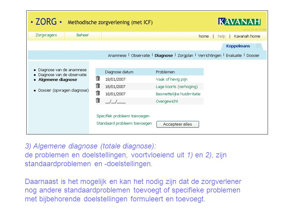3) Algemene diagnose (totale diagnose):