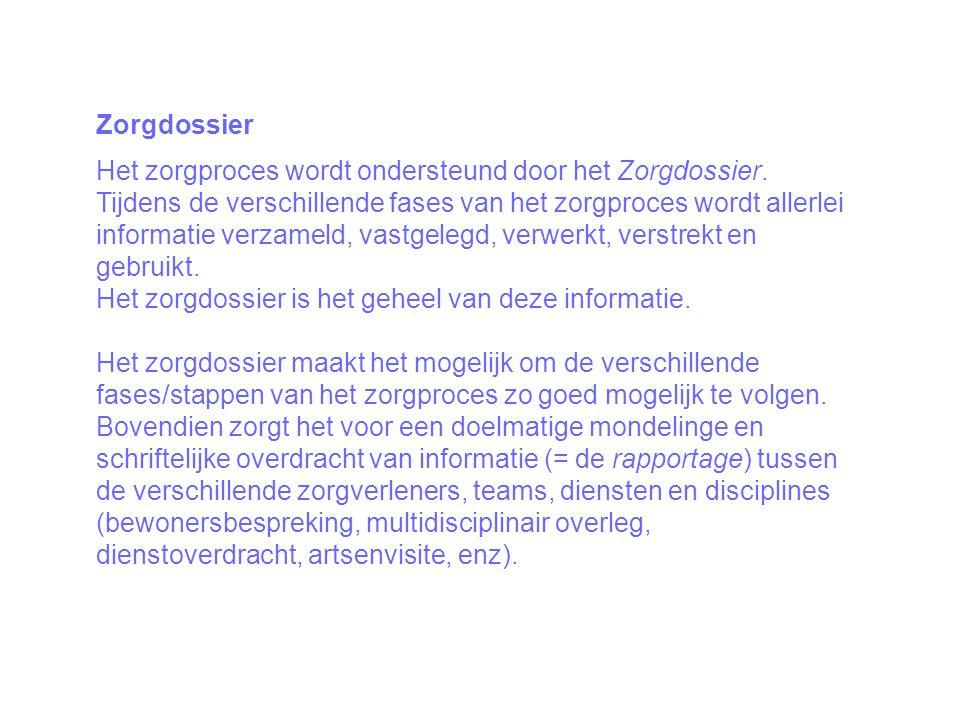 Zorgdossier Het zorgproces wordt ondersteund door het Zorgdossier.