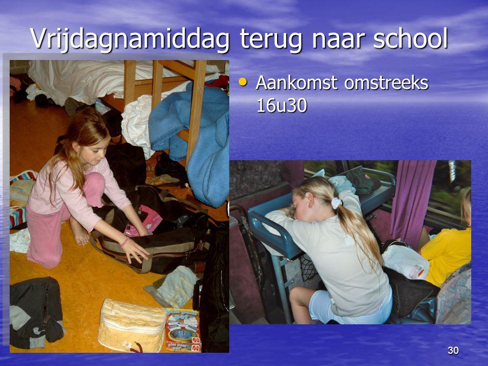 Vrijdagnamiddag terug naar school
