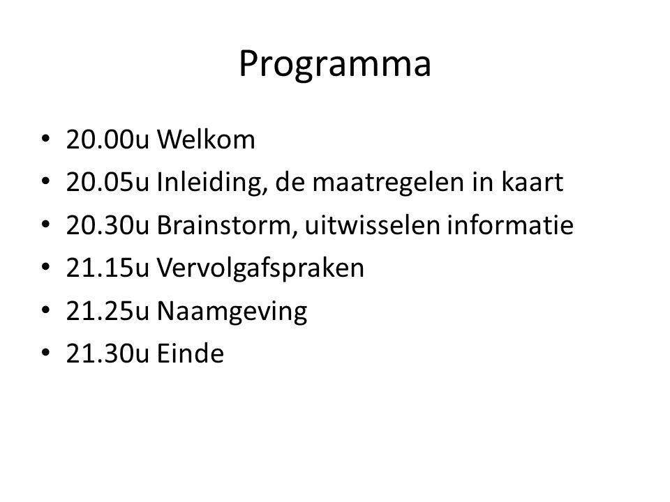 Programma 20.00u Welkom 20.05u Inleiding, de maatregelen in kaart